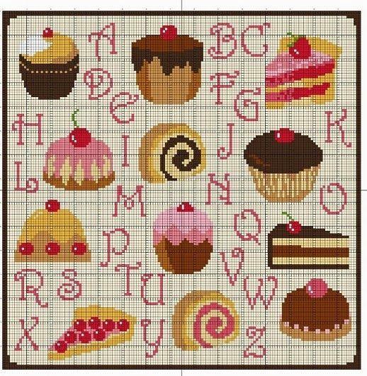♥Meus Gráficos De Ponto Cruz♥: Cozinha: Cupcakes Deliciosos em Ponto Cruz                                                                                                                                                                                 Mais