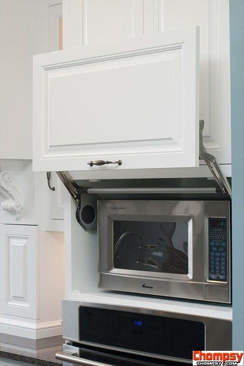 hide microwave in a cuboard