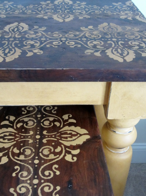 distress painted, modern stencil, painted tables, sofa table, end table, ASCP, Arles, dark wax, vintage modern