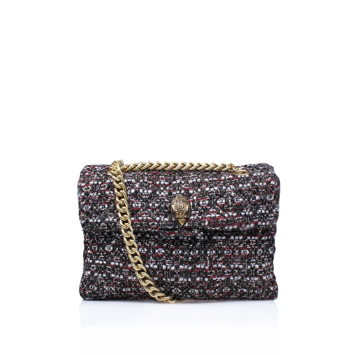 Red Shoulder Bag. A refined, feminine option for your handbag rotation, Tweed Kensington Bag by Kurt Geiger London arrives in a colourful weave punctuated by luxe gold-tone hardware and a chain shoulder strap. Just the right size for those everyday essentials. Bag dimensions: H 17.5cm x W 26cm x D 10cm.