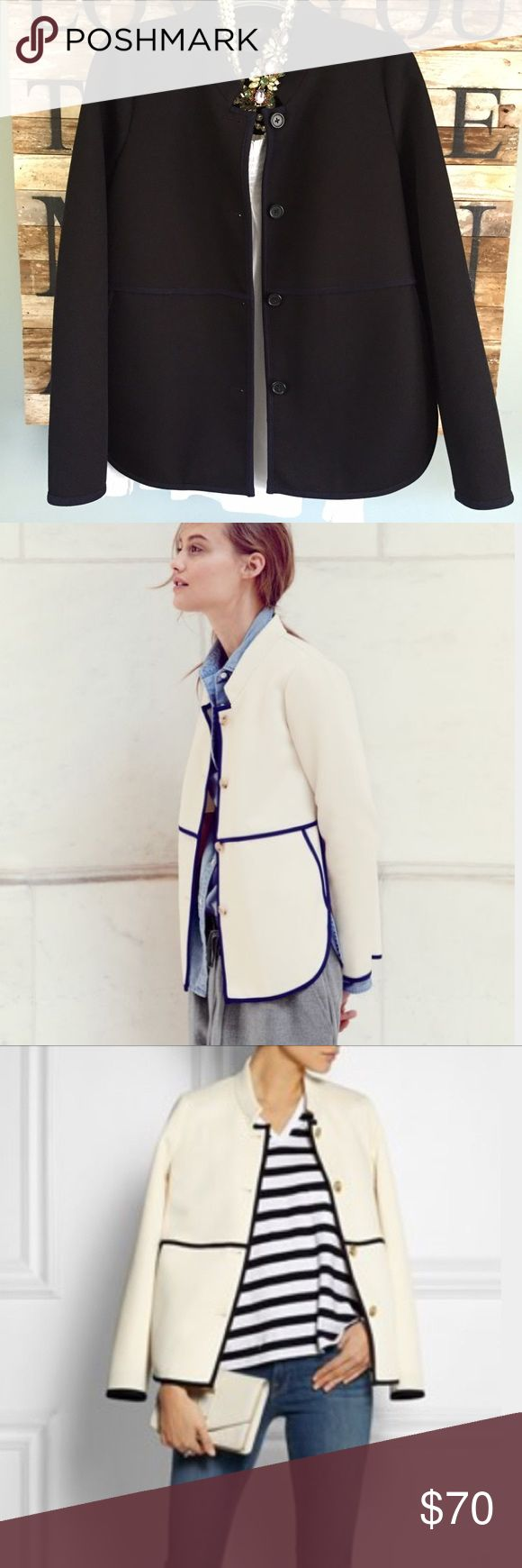 """NEW J.Crew Retail Twill Jacket NWOT, This is a great Spring transition jacket! Made from  twill and accented with contrast navy piping and overlapping side seems. It's what present day Jackie O would wear with cropped pants for a gallery opening, and then a big scarf for Central Park stroll🍃. Slant pockets that can fit cell phone and keys. 26"""" length. Poly/viscose/elastane. Machine washable. Smoke free home. J. Crew Jackets & Coats"""