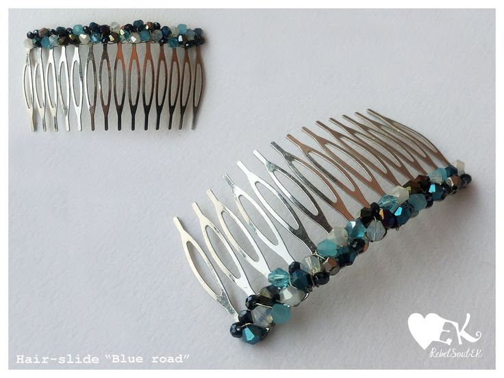 hair comb crystals blue silver RebelSoulEK handmade jewelry