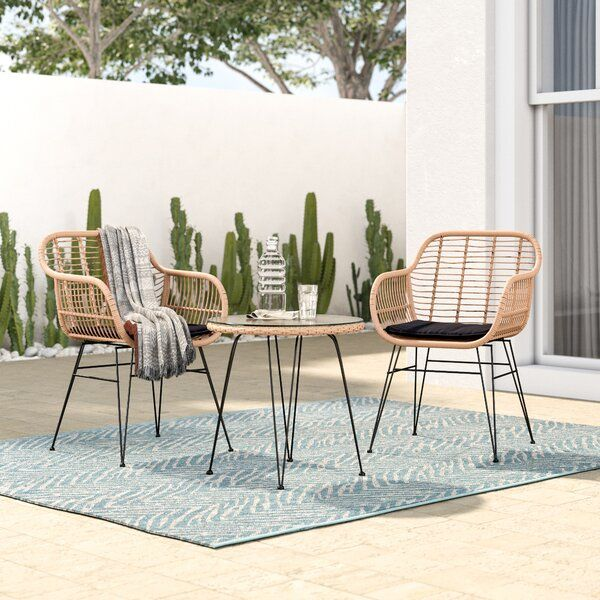 Garett Wickered 3 Piece Bistro Set With Cushions Patio Furnishings Patio Furniture Sets Patio Decor