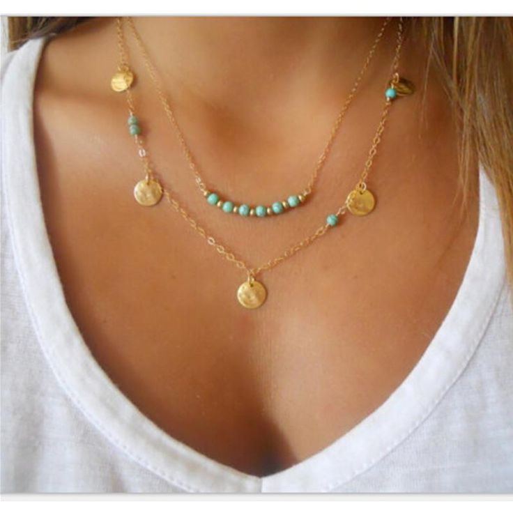 Bohemian Choker Necklace Gold Chain with Coins and Blue beads