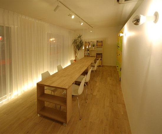 Linear seating + track lighting