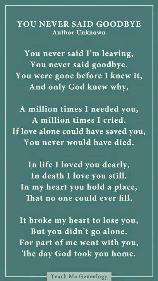 Loved ones, r.i.p.