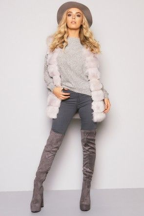 Soft To The Touch Faux Fur Gilet Light Grey
