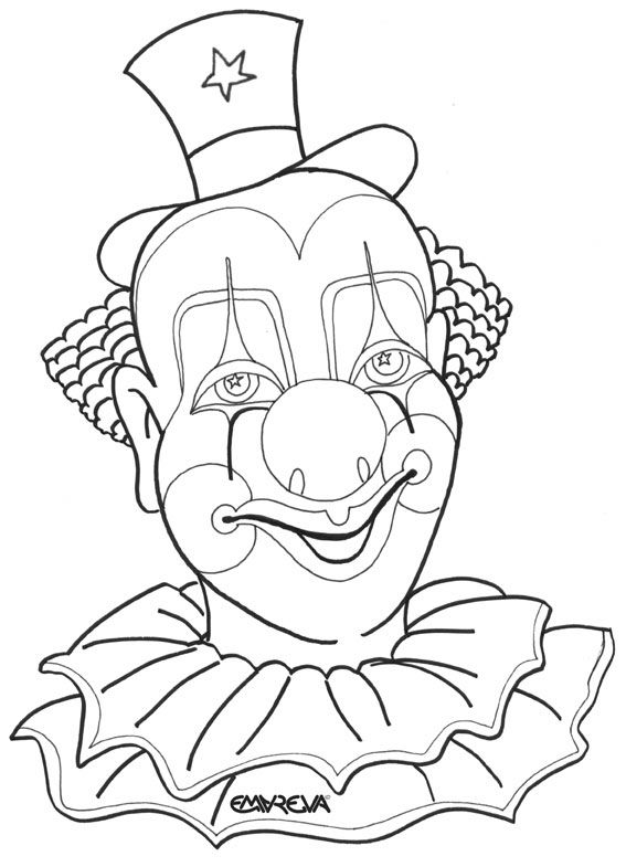 clown+coloring+pages+for+adults | clown coloring funny clown with his big orange wig to color