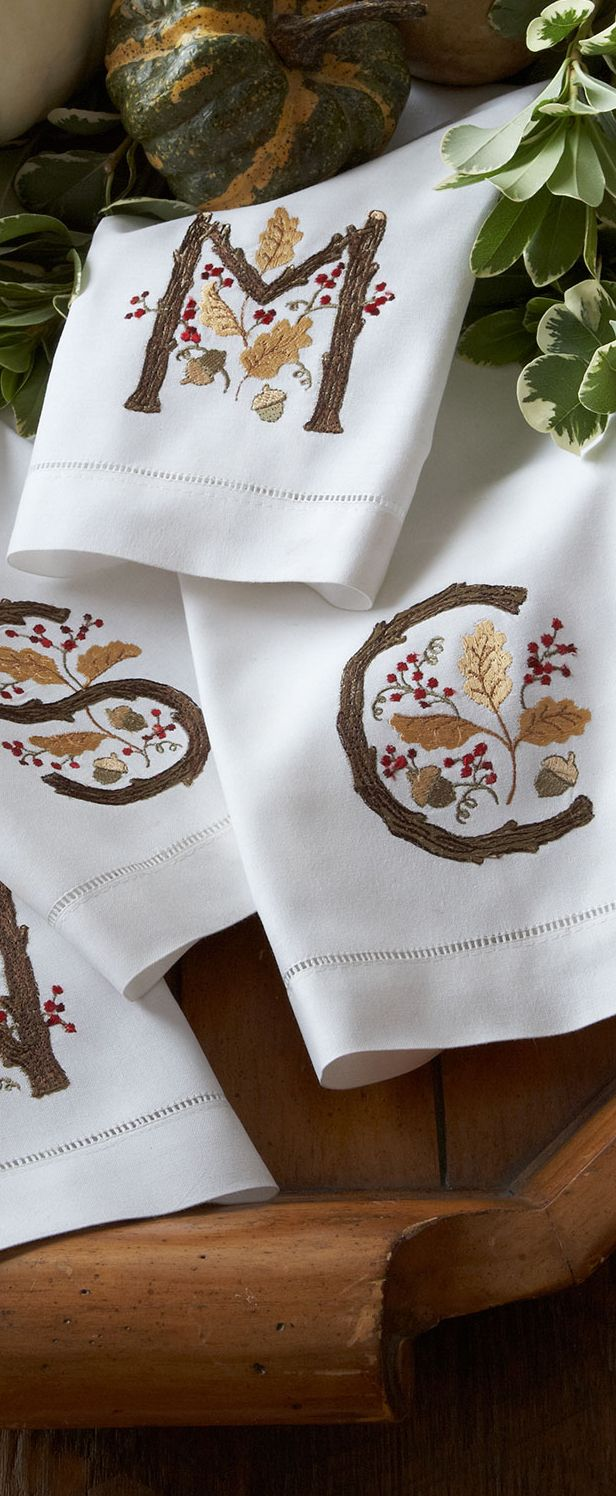 Fall Monogramed Guest Towels