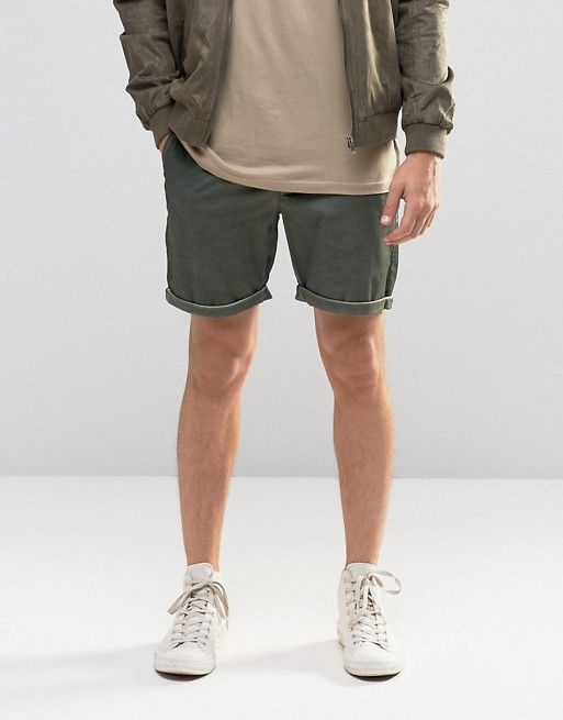 ASOS | ASOS Slim Chino Shorts In Green With Oil Wash