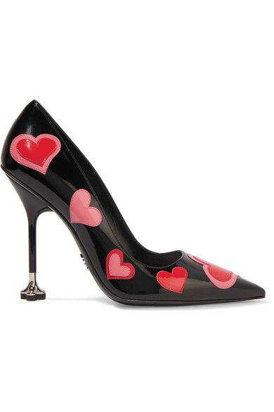Heel measures approximately 115mm/ 4.5 inches Black, red and pink patent-leather Slip on Made in Italy