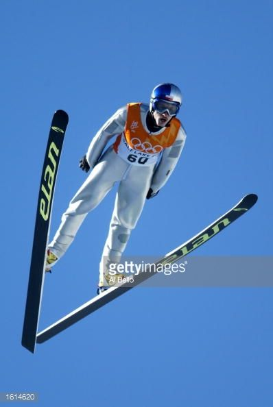 Adam Malysz of Poland competes in the first round of the men's K90 ski jumping event during the Salt Lake City Winter Olympic Games at the Utah...