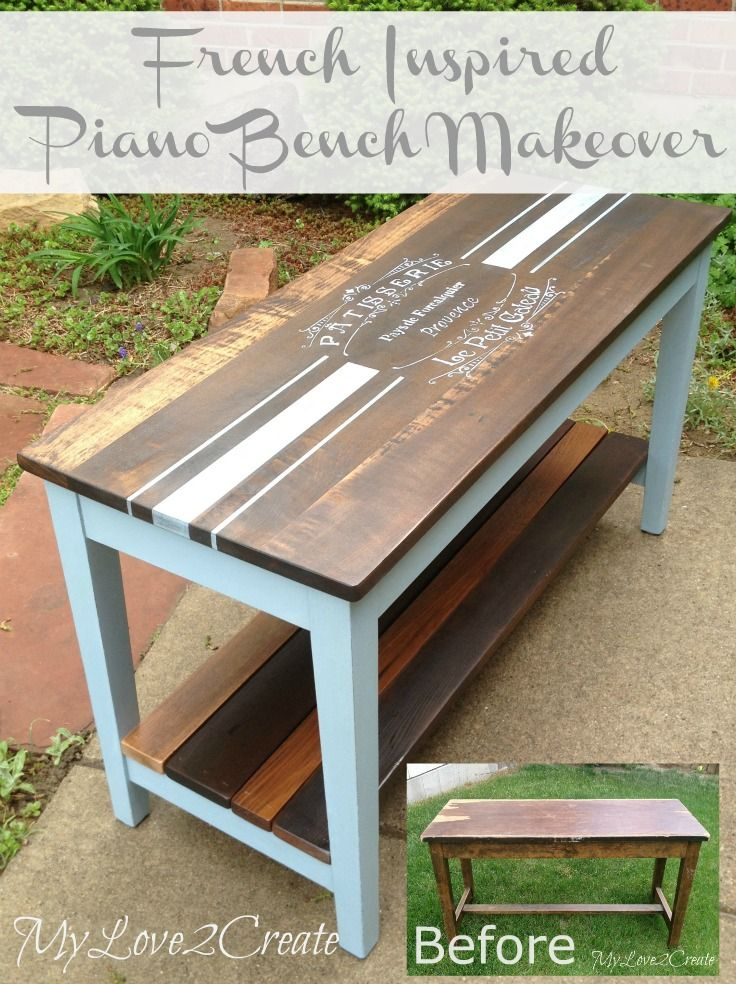 French Inspired Piano Bench Makeover