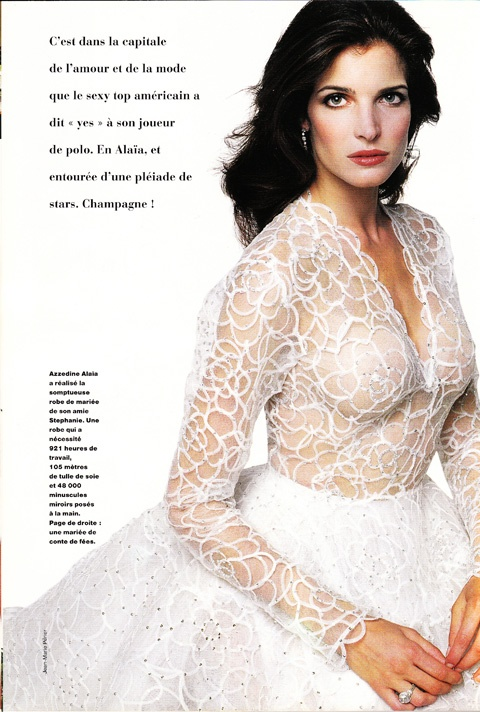 Azzedine Alaia Wedding Dresses in her Alaia wedding dress