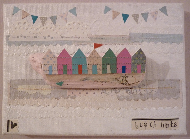 Mixed media on canvas  'Pink beach huts'