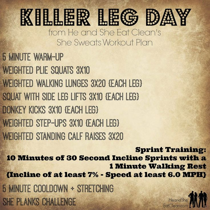 Looking for a good leg workout? This one is definitely what you have been looking for! Killer Leg Day | He and She Eat Clean | She Sweats Workout Plan
