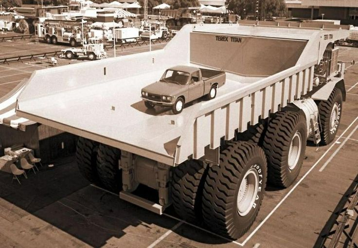 The Terex Titan 33-19 from in 1974. A 350 ton off highway hauler. 3300 hp diesel/AC electric powertrain haul truck designed by the Terex Division of General Motors and assembled at General Motors Diesel Division's London, ON, Canada assembly plant in 1973. Only one 33-19 was ever produced and it was the largest, highest capacity haul truck in the world for 25 years. After 13 years in service, the 33-19 was restored and is now on static display as a tourist attraction in Sparwood, BC, Canada.