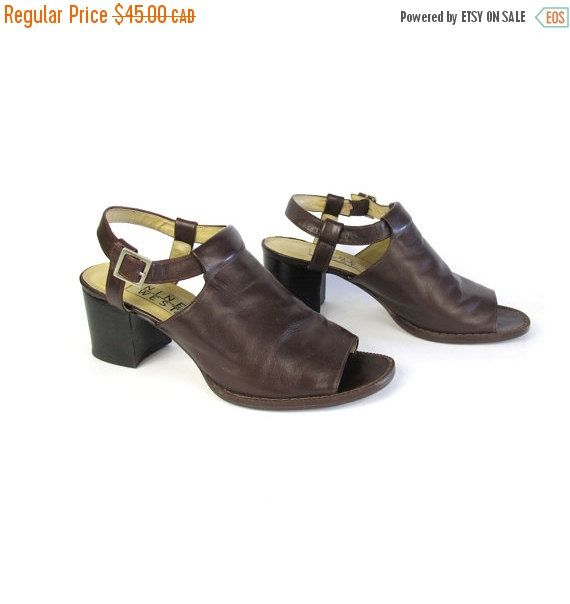 New to honeymoonmuse on Etsy: VACATION SALE 90s Chunky Sandals Brown Leather Chunky Heels Grunge Cut Out Minimal Buckle Heels Nine West Shoes Chocolate Brown Leather Sand (38.25 CAD)