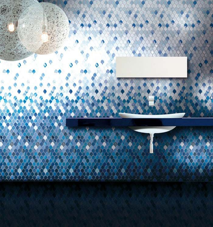 blue and white mosaic bathroom