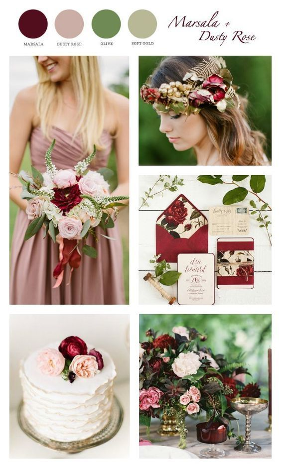 Beautiful fall color scheme starring marsala and dusty rose with soft gold and cream accents. Tie in some greenery and you have the perfect autumn color palate.