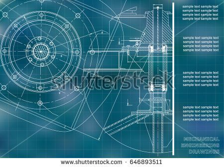 Mechanical engineering drawings. Vector engineering drawing. Blue. Grid  #bubushonok #art #bubushonokart #design #vector #shutterstock  #technical #engineering #drawing #blueprint   #technology #mechanism #draw #industry #construction #cad