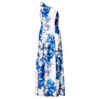 Asymmetrische jurk met bloemenprint Blauw