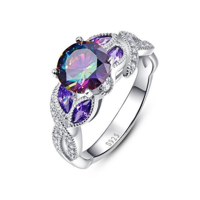 Feminine Oval Cut Purple Amethyst  925 Stamp Silver Ring Size 6//7//8//9