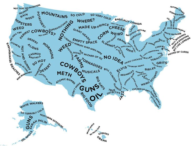 the stereotype map of every us state according to british people iowa funnywisconsin funnyfunny college