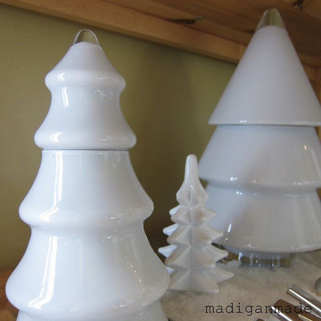 DIY Milkglass Christmas Trees.