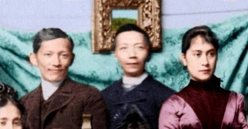 (L-R) Jose Rizal, Felix Resurrecion Hidalgo and Nellie Bousted, whom Rizal would have married had she not insisted that he renounce his Catholic faith and become a Protestant. (Source: In Excelsis: The Mission of Jose P. Rizal). Colorized by I.J.R.A. Jose Rizal and Nelly Boustead