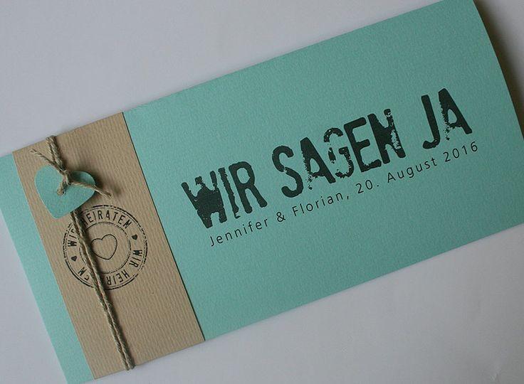 Hochzeitskarte FELINA mint-creme / Wedding card FELINA mint-creme