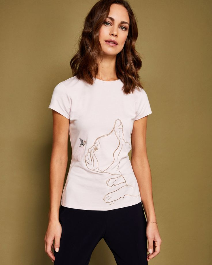 Cottons Fairytale dog motif T-shirt - Pale Pink | Tops and T-shirts | Ted Baker UK