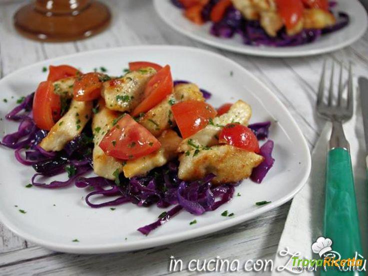 Pollo al vino con cavolo viola e pomodorini  #ricette #food #recipes
