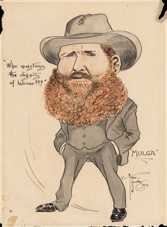 ART0224/14: Mulga.  Frederick Booty collection of caricatures of WA personalities at the turn of the century.  http://encore.slwa.wa.gov.au/iii/encore/record/C__Rb4746933__SART0224__Orightresult__U__X3?lang=eng&suite=def