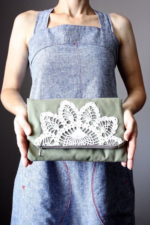 Foldover clutch bag  cotton handbag Army Green  by ScarfObsession, $42.00