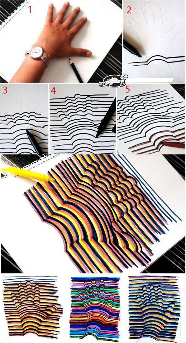 Como hacer un dibujo de una mano 3D muy fácil