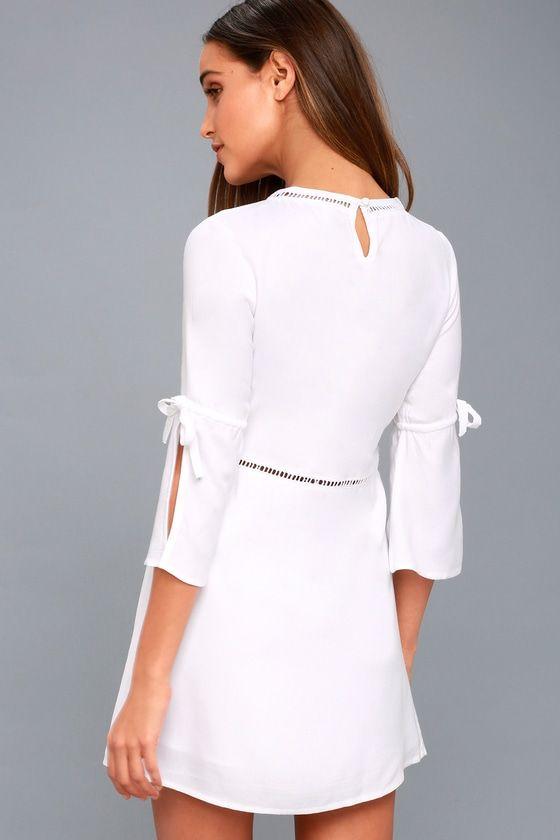 On the Go White Shift Dress 3