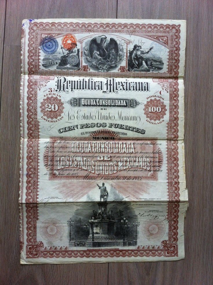 MEXICO-Republica-Mexicana-Christopher-Columbus-Bond-20-100-1885