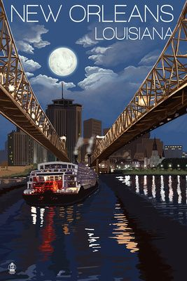 New Orleans, Louisiana ~ Skyline at Night ~ Lantern Press Artwork