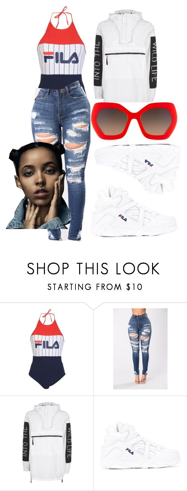 """Untitled #2"" by kalienajb on Polyvore featuring Fila, Topshop and Alice + Olivia"