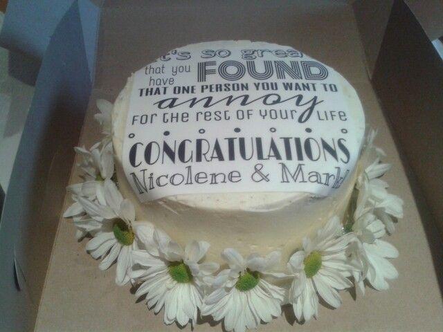 Humorous wedding shower cake