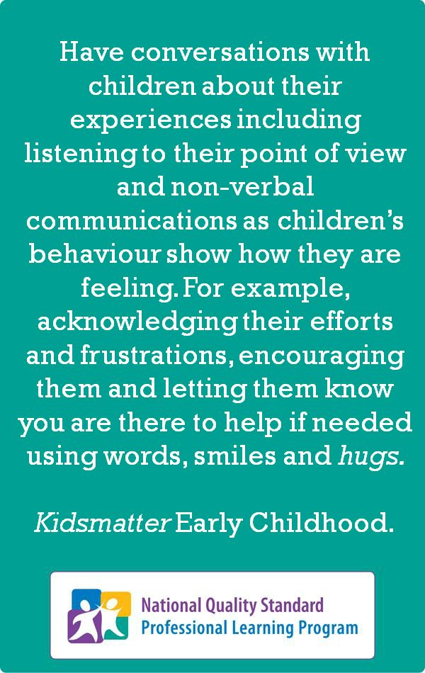 A quote from KidsMatter Early Childhood. Did you know their Facebook Page is now live? Like them here:  http://www.facebook.com/pages/KidsMatter-Early-Childhood/513338428676815  -- KidsMatter Early Childhood is a mental health and wellbeing initiative for early childhood education and care services. www.kidsmatter.edu.au/early-childhood