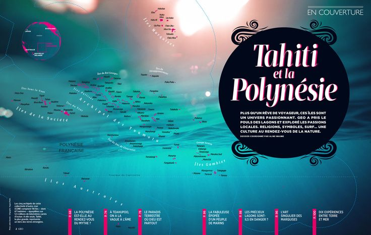 French Polynesia. Map created by Hugues Piolet for GEO Magazine.