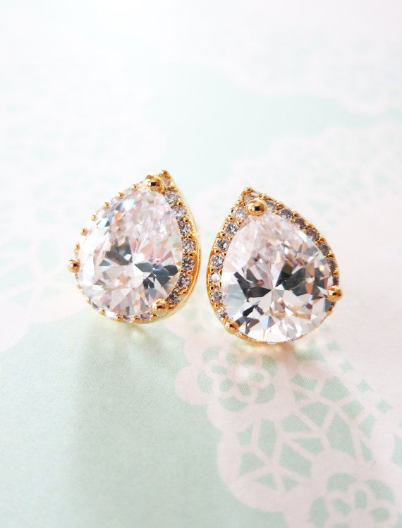 Wedding Bridesmaid Gift Bridal Earrings Bridesmaid Jewelry Clear White luxe Cubic Zirconia Teardrop Ear Post Stud Earrings Sterling, by GlitzAndLove, www.glitzandlove.com