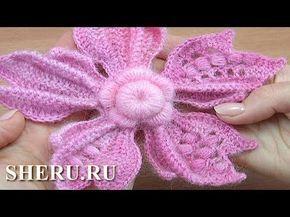 Урок 149 вязания крючком великолепного цветка с объемными лепестками - YouTube
