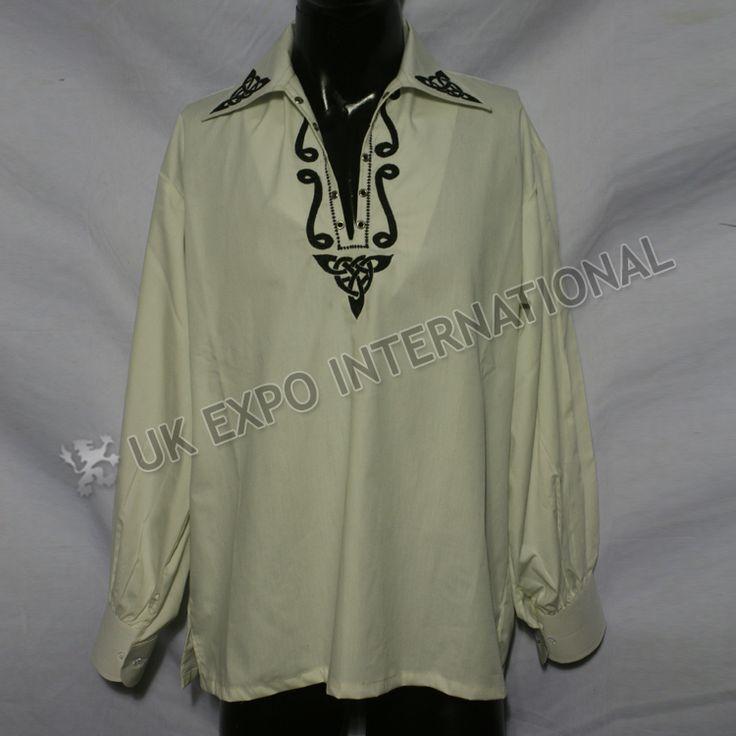 Celtic Embroidered Mens Scottish Highland Jacobite Shirts | UK EXPO INTER NATIONAL