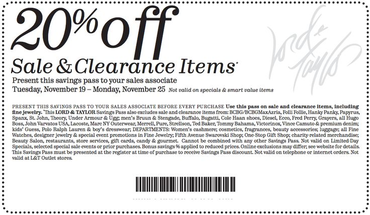 Lord and taylor printable coupon february 2018