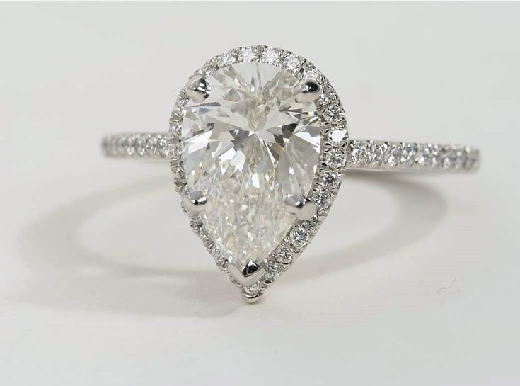 2.8 ct. Pear-Shaped Diamond Halo Engagement Ring in platinum | Available at bluenile.com