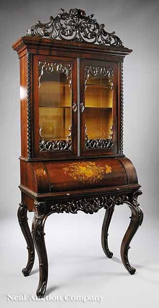 A Fine American Rococo Carved And Inlaid Rosewood Secretary Bookcase · Accent  PiecesRococoSecretaryPillow ...