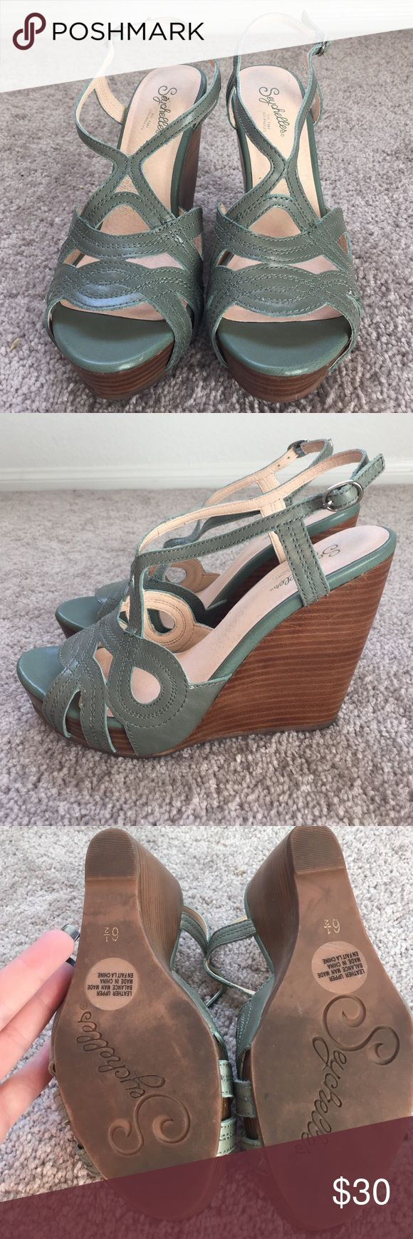 Women's Seychelles Green Leather Wedges size 6.5 Women's Seychelles Green Leather Wedges size 6.5 Seychelles Shoes Wedges